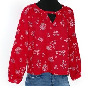 Boho Universal Threads Red Floral Flower Blouse